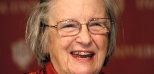Ostrom celebrates winning Nobel Prize in economics at the Indiana University in Bloomington